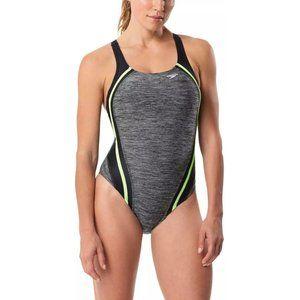 SPEEDO Gray Quantum Splice One Piece Swimsuit 14